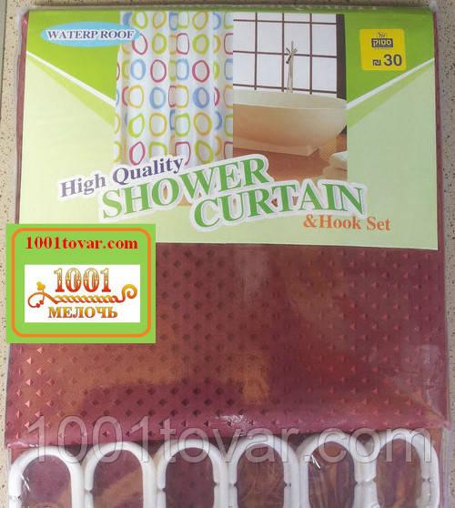 Шторка для ванной комнаты Shower curtain, однотонная бардовая. Размер 200х180 см.