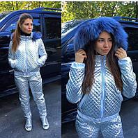 """Женский, модный, термокостюм штаны + куртка """"Экокожа, с мехом чернобурки"""""""