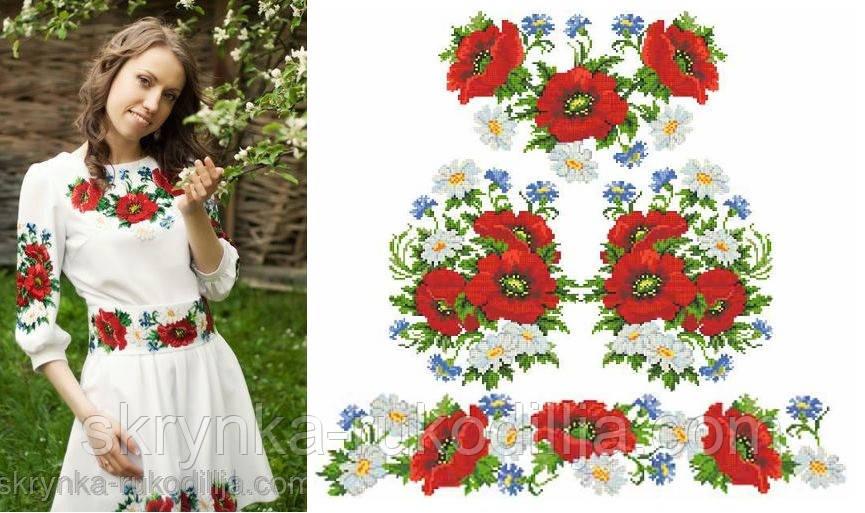 Заготовка плаття для вишивки бісером нитками на натуральній тканині ПЛд-001  - СКРИНЬКА. 9dff68613ee91
