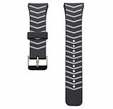 Силіконовий ремінець для годинника Samsung Gear S2 Sports SM-R720 / SM-R730 Strip Grey, фото 2