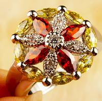 Шикарное серебряное кольцо. Гранат,цитрин