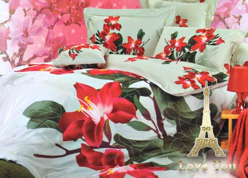 Комплект постельного белья Семейный  Love You 160х220 3D Сатин Магнолия stp 555