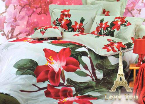 Комплект постельного белья Семейный  Love You 160х220 3D Сатин Магнолия stp 555, фото 2