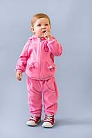 Велюровый костюм для девочек розовый с 9 мес- 2 лет размер 74-86