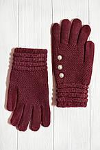 Вязаные перчатки Вишневый