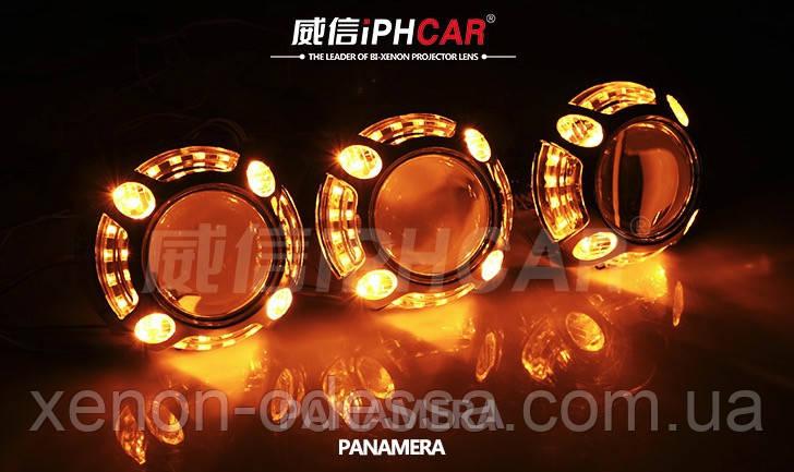 """Маска для ксеноновых линз Porsche Panamera LED CREE DRL W+Y  3.0"""" со светодиодами CREE Белый + Желтый"""