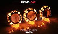 """Маска для ксеноновых линз 3.0"""" со светодиодами CREE Белый + Желтый : Porsche Panamera LED CREE DRL W+Y"""