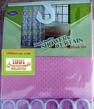 Шторка для ванной комнаты Shower curtain, однотонная розовая. Размер 180х180 см.
