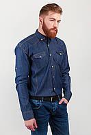 Рубашка мужская джинсовая, длинный рукав  №143F006 (Синий)