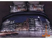 Комплект постельного белья Семейный  Love You 160х220 3D Сатин Ночной город