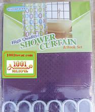 Шторка для ванной комнаты Shower curtain, однотонная фиолетовая. Размер 180х180 см.