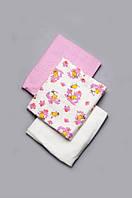 Комплект байковых пеленок для девочки 3 шт размер 90*100 см