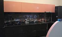 Кухня МДФ оранж и мокко глянец