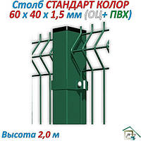 Столб СТАНДАРТ  (оц.+Ral 9005 ) 2,0 м, фото 1