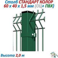 Столб ЕКО КОЛОР  (оц.+Ral 9005 ) 2,0 м