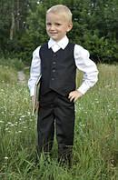 Костюм выпускной для мальчика в детский сад: брюки + жилет черный 3-8 лет размер 98-128