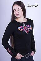 Жіноча вишиванка Лісова пісня рожева на чорному – вишитий рукав