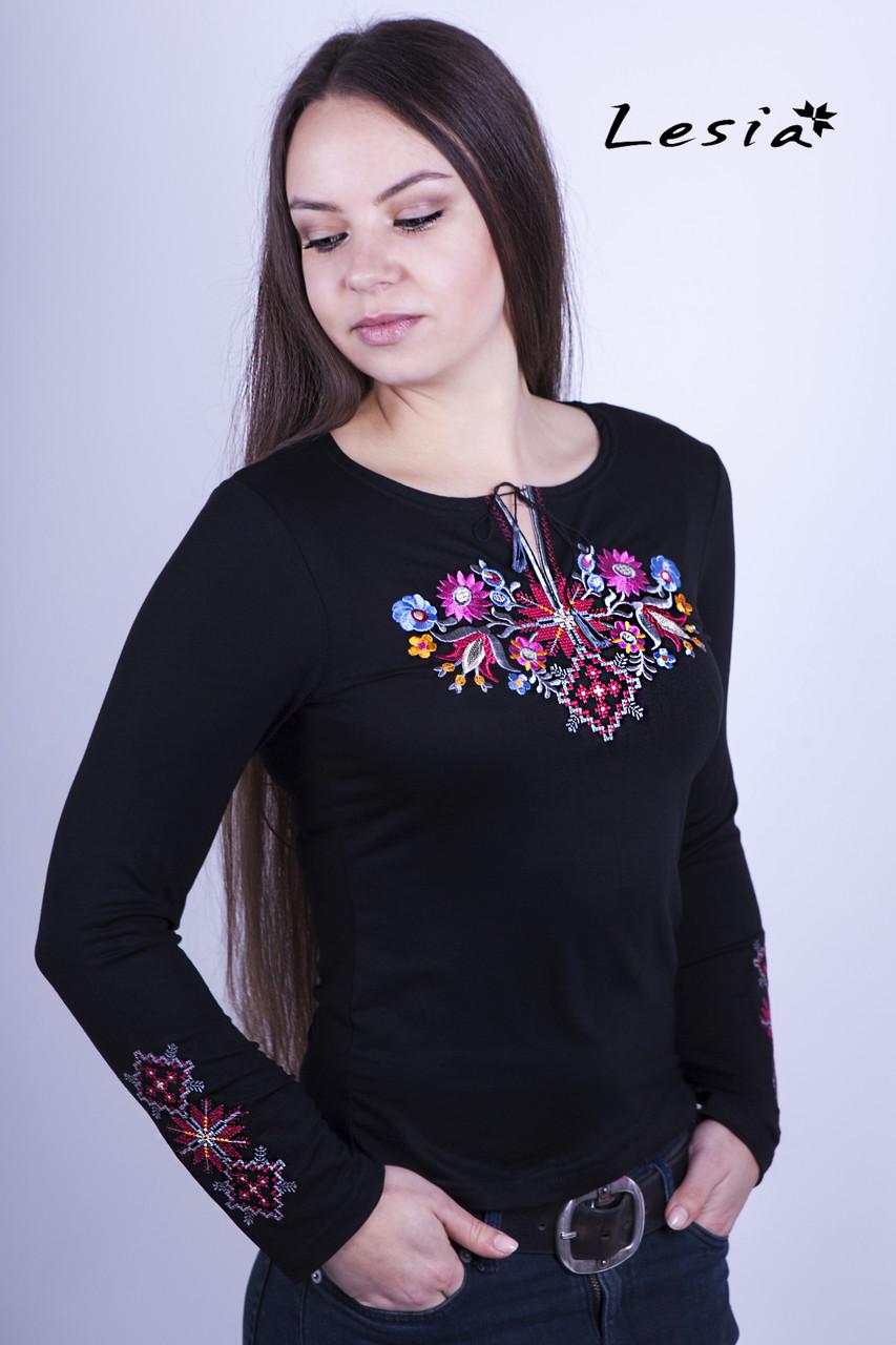 Жіноча вишиванка Лісова пісня рожева на чорному – вишитий рукав -  Інтернет-магазин