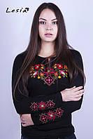 Жіноча вишиванка Лісова пісня червона на чорному – вишитий рукав 84a184384aa58