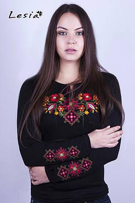 Жіноча вишиванка Лісова пісня червона на чорному – вишитий рукав