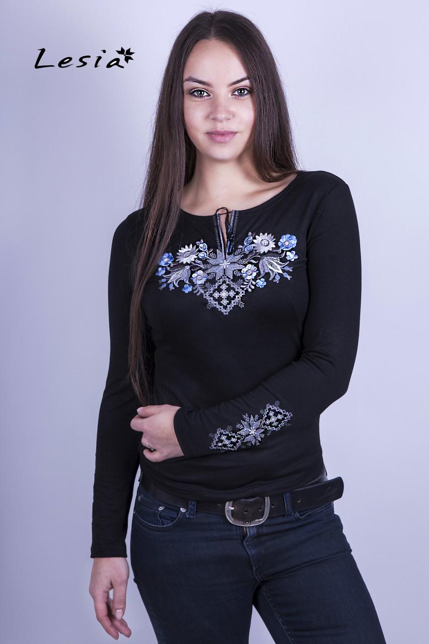 Жіноча вишиванка Лісова пісня голуба на чорному – вишитий рукав -  Інтернет-магазин