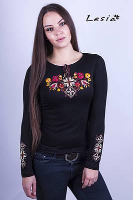 Жіноча вишиванка Лісова пісня золота на чорному – вишитий рукав