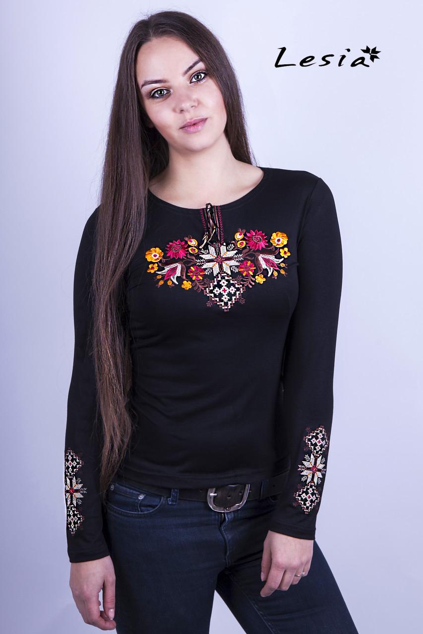 Жіноча вишиванка Лісова пісня золота на чорному – вишитий рукав XXXL -  Інтернет-магазин