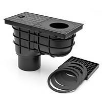 Дождеприемник с дополнительной решеткой и вертикальным выпуском й для отвода воды с водосточной трубы к канализации Чорный МСН 325A