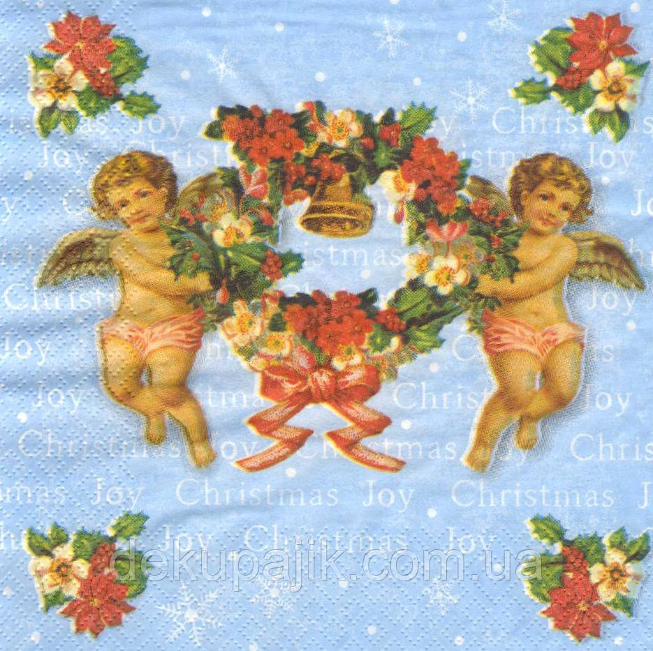 Декупажные салфетки Новогодние ангелочки 6392