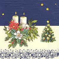 Декупажные салфетки Новогодняя композиция на синем фоне 6398