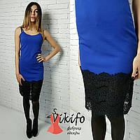 Платье на тонких бретелях с кружевом миди креп-дайвинг 4 цвета SMf812