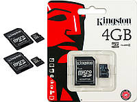 Карта памяти Kingston micro SDHC 4GB class 4+SD