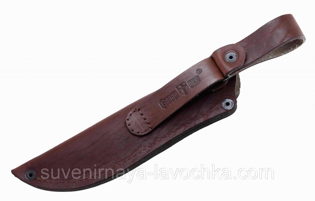 Чехол для нескладного ножа с натуральной кожи-№2, коричневый цвет