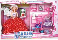 Кукла 29см в бальном платье и шляпе, с аксессуарами,