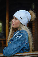Ультрамодная зимняя женская шапка с меховым помпоном