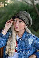 Стильная теплая женская кепка с припуском