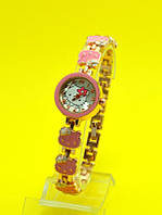 "Наручные часы на металлическом браслете ""Hello kitty бантик"", золото"