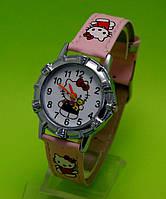 """Детские наручные часы в серебряным корпусом  """"Китти"""", розовые"""