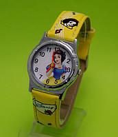 """Детские наручные часы в серебряным корпусом  """"Белоснежка"""", желтые"""