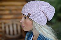 Вязаная красивая женская шапка с припуском