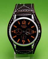 """Мужские молодежные часы на кожаном ремне Diesel Time в металлическом корпусе """"Биксбит"""""""