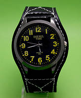 """Мужские молодежные часы Diesel на кожаном ремне в металлическом корпусе """"Эпидот"""""""