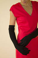 Женские перчатки до локтя с мелким украшением