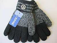 Меланжевые перчатки  с эмблемой для мальчиков.