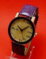 """Женские наручные часы с фиолетовым тисненым кожаным ремешком """"Мефона"""""""