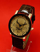"""Женские наручные часы с коричневым кожаным ремешком """"Черный Роджер"""""""