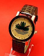 """Женские наручные часы с коричневым кожаным ремешком """"Флора голд"""""""