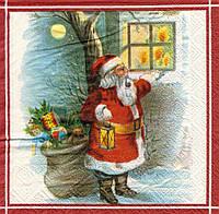 Салфетки декупажные Санта у окна 6403