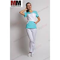 Медицинский костюм Сидней (белый/мятный) №1014