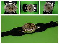 """Женские наручные часы с оригинальным черным кожаным ремешком """"Черная сирень"""""""